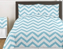 Chevron Turquoise and White 3pc Teen or Kids King Bedding Set