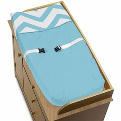 Chevron Turquoise and White Changing Pad Cover by Sweet Jojo Designs