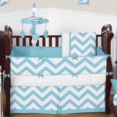 Chevron Turquoise and White Crib Bedding - 9 Piece Set