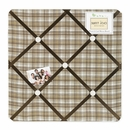 Chocolate Teddy Bear Collection Plaid Fabric Memo Board