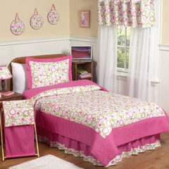 Circles Pink Mod Kids Bedding - 3 Piece Full/Queen Set