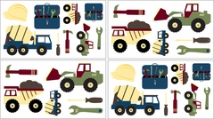 Construction Zone Trucks and Tools Wall Decals by Sweet Jojo Designs