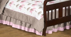 Elephant Pink Collection Toddler Bed Skirt by Sweet Jojo Designs