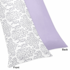 Elizabeth Lavender and Gray Damask Body Pillow Cover