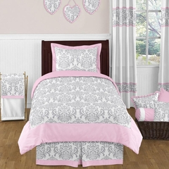 Elizabeth Pink and Gray Damask Bedding 4 Pc Twin Set