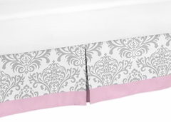 Elizabeth Pink and Gray Damask Queen Bed Skirt