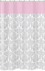 Elizabeth Pink and Gray Damask Shower Curtain
