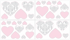 Elizabeth Pink and Gray Damask Wall Decals