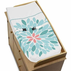 Emma Turquoise and Coral Flower Collection Changing Pad Cover