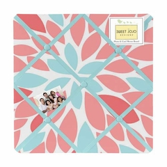 Emma Turquoise and Coral Flower Fabric Memo Board