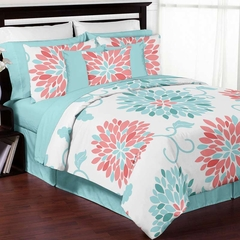Emma Turquoise and Coral Flower Full/Queen Bedding - 3 Pc Set