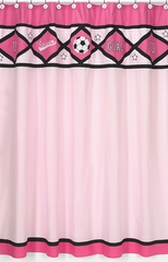 Girl's Pink Soccer Bathroom Shower Curtain by Sweet Jojo Designs