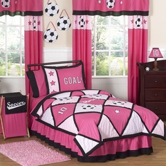 Girl's Pink Soccer- Kids Bedding Twin 4 Piece Set