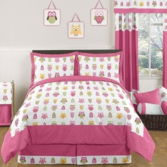 Girls Pink Owl Bedding - 3 Pc Full/Queen Bedding Set