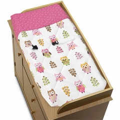Girls Pink Owl Changing Pad Cover by Sweet Jojo Designs