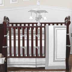Gray and White Modern Hotel Baby Bedding 9 Pc Crib Set