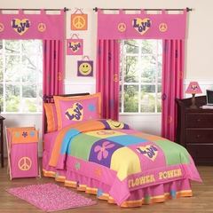 Groovy Love Peace Sign Bedding  - Teen & Kids 4 Piece Twin Bedding Set
