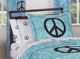 Groovy Tie Dye Peace Sign Turquoise Bedding 3 Piece Full/Queen Set