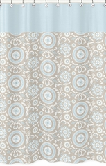 Hayden Blue and Taupe Medallion Shower Curtain