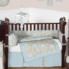 Hayden Blue Neutral Baby Bedding 9 Pc Crib Set by Sweet Jojo Designs