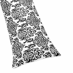 Isabella Black & White Damask Collection Full Length Body Pillow Cover