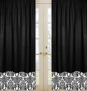 Isabella Hot Pink, Black & White Collection Black Window Panels