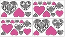 Isabella Hot Pink, Black & White Damask Heart Wall Decals