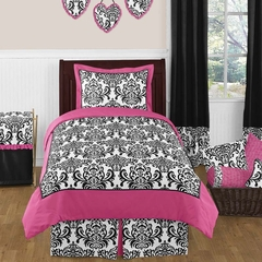 Isabella Pink, Black & White Damask Girls Bedding - Twin 4 Pc Set