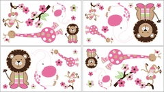 Jungle Friends Girl's Pink and Green Wall Decals by Sweet Jojo Designs