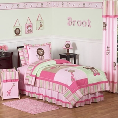 Jungle Friends Girls Pink and Green - 3 Piece Full/Queen Bedding Set
