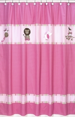 Jungle Friends Girls Pink and Green Bathroom Shower Curtain