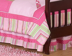 Jungle Friends Girls Pink and Green Collection Toddler Bed Skirt