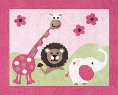 Jungle Friends Girls Pink and Green Floor Rug by Sweet Jojo Designs
