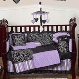 Kaylee Purple Baby Crib Bedding 9 Pc Set