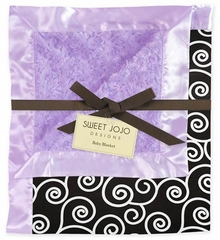 Kaylee Purple, Black and White Scroll Minky and Satin Baby Blanket