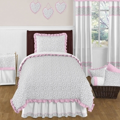 Kenya Pink and Gray Animal Print Bedding 4 Pc Twin Set