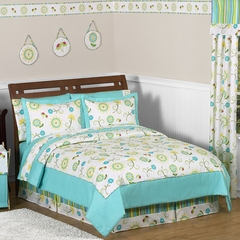 Layla Modern Flower Bedding - Kids or Teen Bedding Twin 4 Pc Set