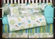Layla Modern Flower Turquoise and Lime Baby Bedding - 9 Pc Crib Set