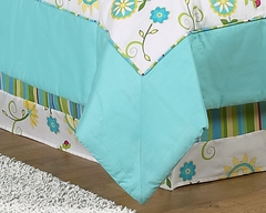 Layla Modern Flower Turquoise and Lime Toddler Bed Skirt