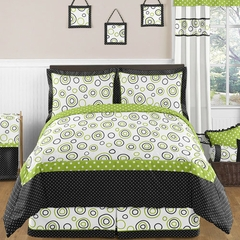 Lime Green and Black Spirodot Full/Queen Bedding 3 Pc Set