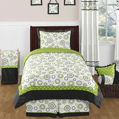 Lime Green and Black Spirodot Twin Bedding - 4 Pc Set