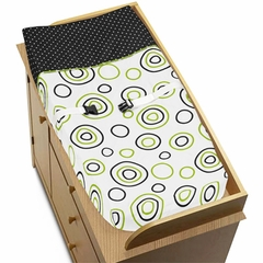 Lime Green & Black Spirodot Changing Pad Cover by Sweet Jojo Designs