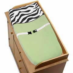 Lime Green Zebra Changing Pad Cover By Sweet Jojo Designs