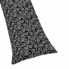 Madison Black and White Scroll Print Body Pillow Cover