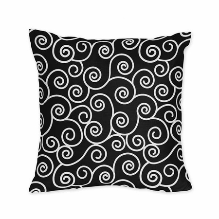 Madison Black and White Scroll Print Decorative Accent Throw Pillow