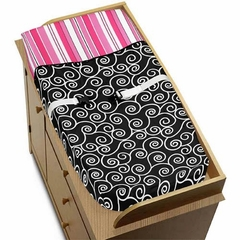 Madison Scroll Print & Stripe Changing Pad Cover by Sweet Jojo Designs