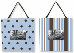 Max 2 Piece Blue and Brown Polka Dot and Stripe Picture Frame Set