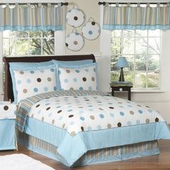 Mod Dots Blue Polka Dot Kids Bedding - 3 Piece Full/Queen Set