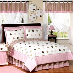 Mod Dots Pink Polka Dot - Kids Bedding 4 Piece Twin Set