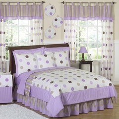Mod Dots Purple Polka Dot - Kids Bedding 4 Piece Twin Set